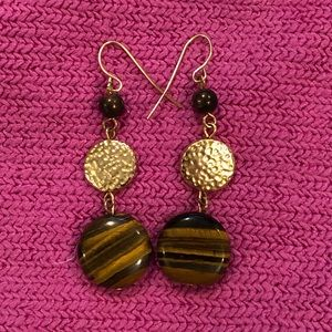 Jewelry - Brown and Gold Dangle Earrings